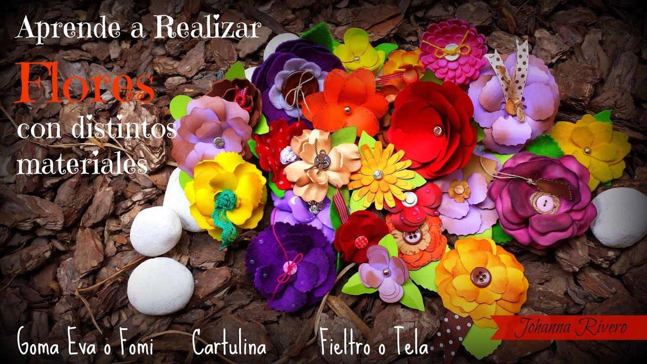 Flores con foami o goma eva cartulina y tela haz tus propios adornos scrapbook gratis 1 youtube - Flores sencillas de goma eva ...