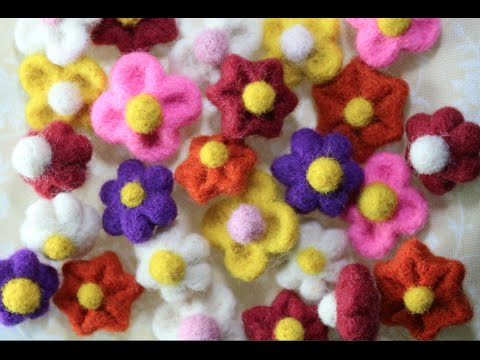 Easy Needle Felted Flowers Tutorial Youtube