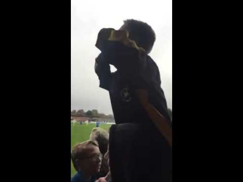 24/10/2015 - Young Torquay fan leading the chant at Basingstoke in the FA Cup yesterday.