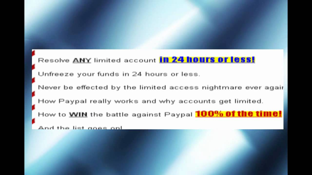 How to Remove Paypal limitation within 24 hours