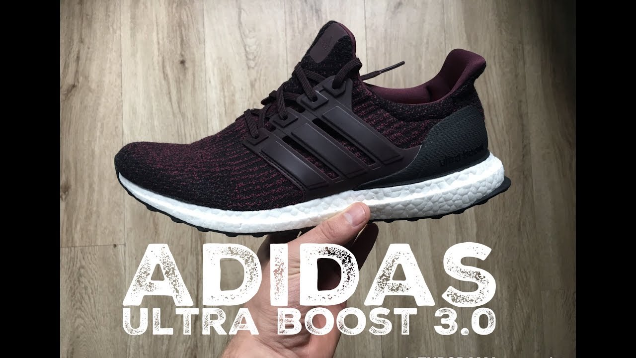 best service f25f0 8d06b Adidas Ultra Boost 3.0  dark burgundy core black    UNBOXING   ON FEET    fashion shoes   2017   HD