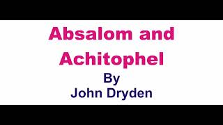 Absalom and Achitophel summary in hindi /Absalom and Achitophel John Dryden in hindi