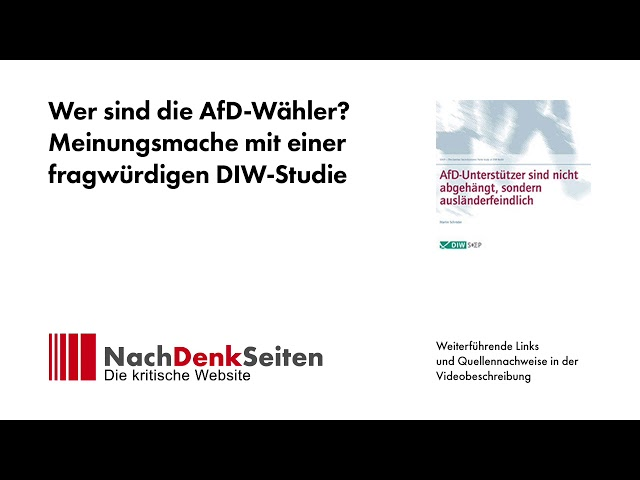 Wer sind die AfD-Wähler? Meinungsmache mit einer fragwürdigen DIW-Studie | Jens Berger