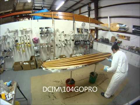 Laminating the top of a Wooden Surfboard Time Lapse