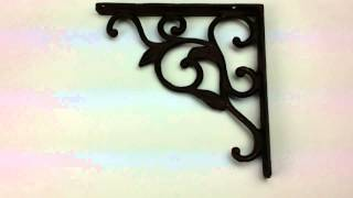 Cast Iron Wall Mount Shelf Brackets Ornate Leaf Pattern - Make Your Own Shelves