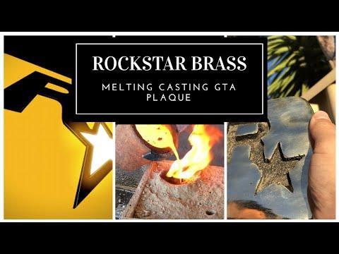 MELTING CASTING BRASS ROCKSTAR PLAQUE - Scrap Brass Melting to GTA5 Plaque - Sand Casting Brass