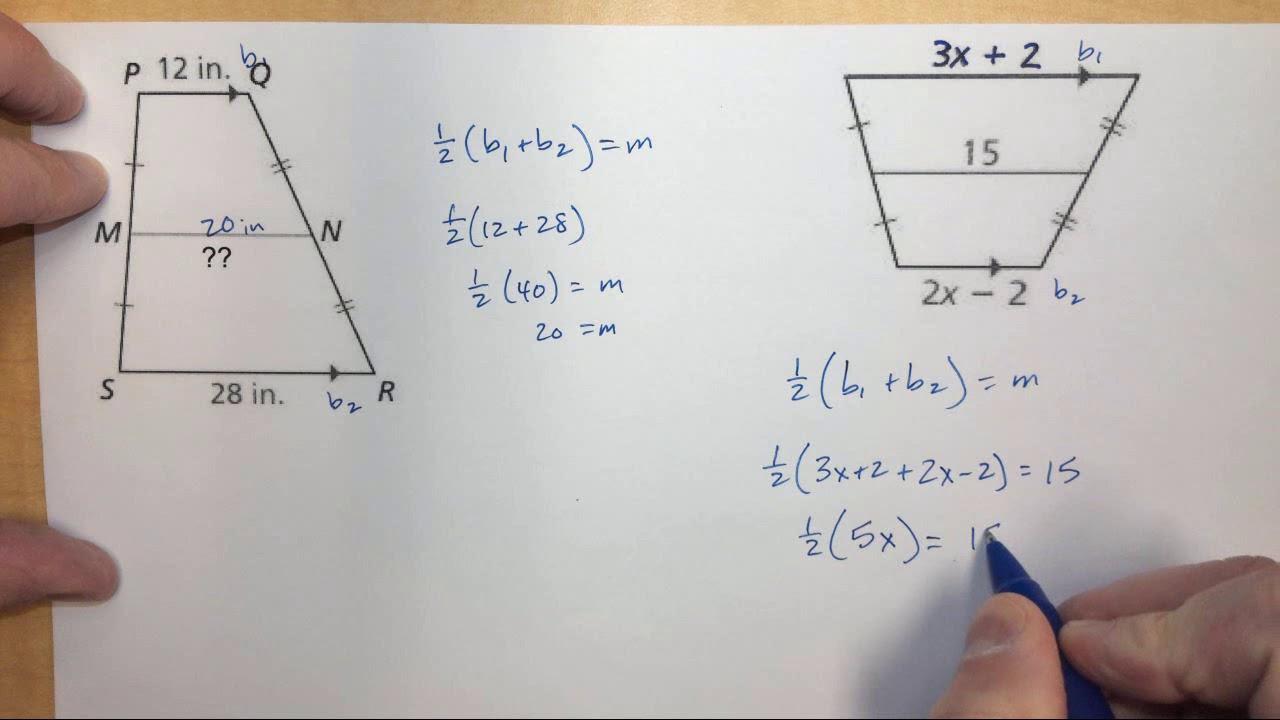 Trapezoid Midsegment With Algebra Youtube