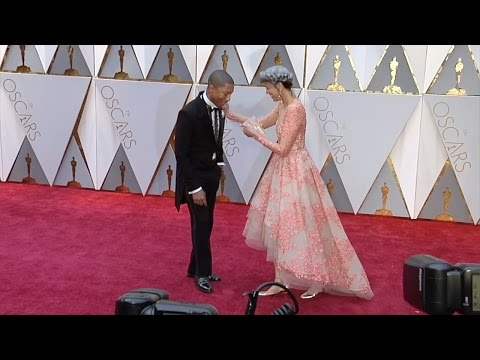 Pharrell Williams and Mimi Valdes 2017 Oscars Red Carpet