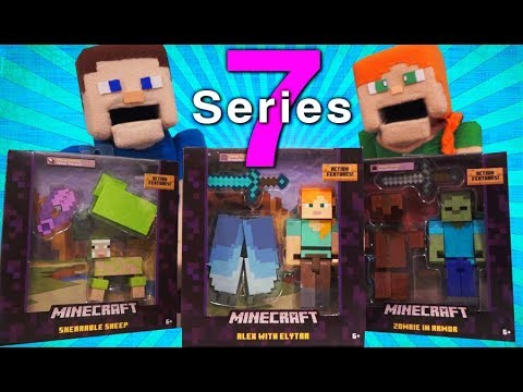 Minecraft Survival mode SERIES 7 5 inch Action Figures Leather Zombie Green Sheep Mattel Unboxing