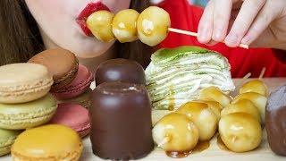 MOST POPULAR FOOD FOR ASMR DESSERT - CREPE CAKE, CHOCOLATE, MAGNUM, MACARONS (Eating Sounds)