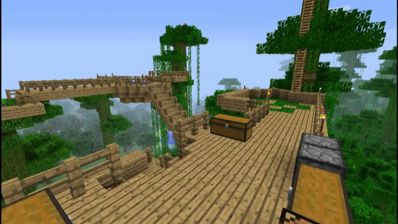 Minecraft tree house jungle biome youtube for Jungle house music