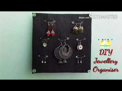DIY Jewellery Organiser/ Earrings Holder/ Best use of old jeans, Pizza box & Safety pins/ #67