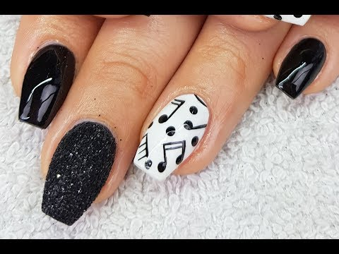 Acrylic Nails Easy Music Note Nail Design
