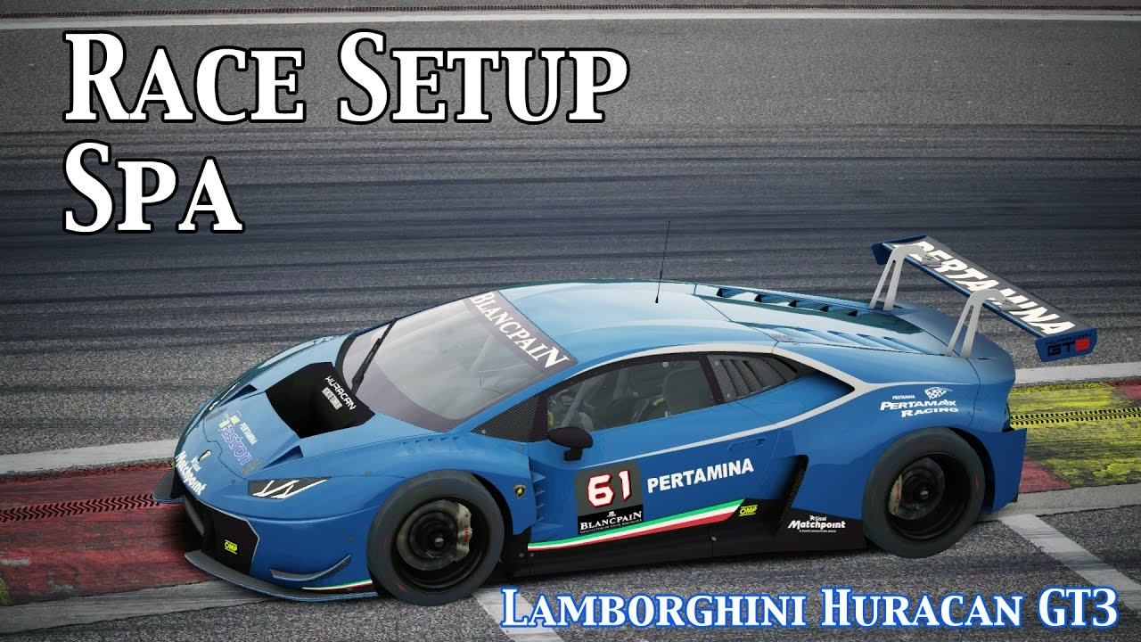 assetto corsa race setup lamborghini huracan gt3 spa base setup youtube. Black Bedroom Furniture Sets. Home Design Ideas