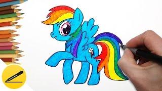 Как Нарисовать Пони Радугу ❤ Рисуем Пони Рэйнбоу Дэш поэтапно(Как рисовать пони Радугу Дэш. В этом видео я показываю как нарисовать пони Радугу из мультика
