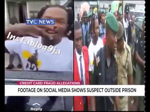 Footage on social media shows Naira Marley outside prison