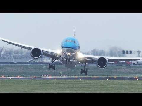 Storm! Crosswind Landings during a STORM at Amsterdam Schiphol - 50 Minutes version