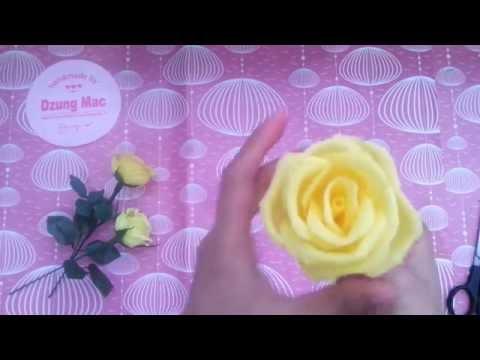 Yellow roses paper flowers tutorial - cách làm hoa hồng từ giấy nhún