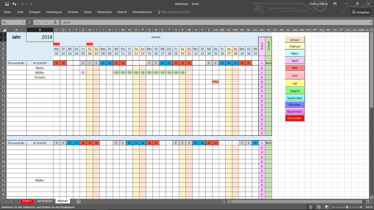 Praktische Dienstplan Excel Vorlage Kostenlos Herunterladen