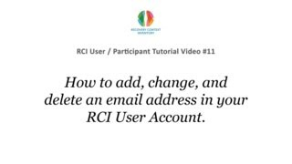 #11 RCI Users - Adding, Changing, or Deleting an Email Address for Your RCI Account