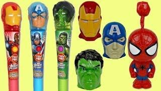 Marvel Avengers Dispensers with Lollipop Light Spinner & Spider Iron Man Surprises