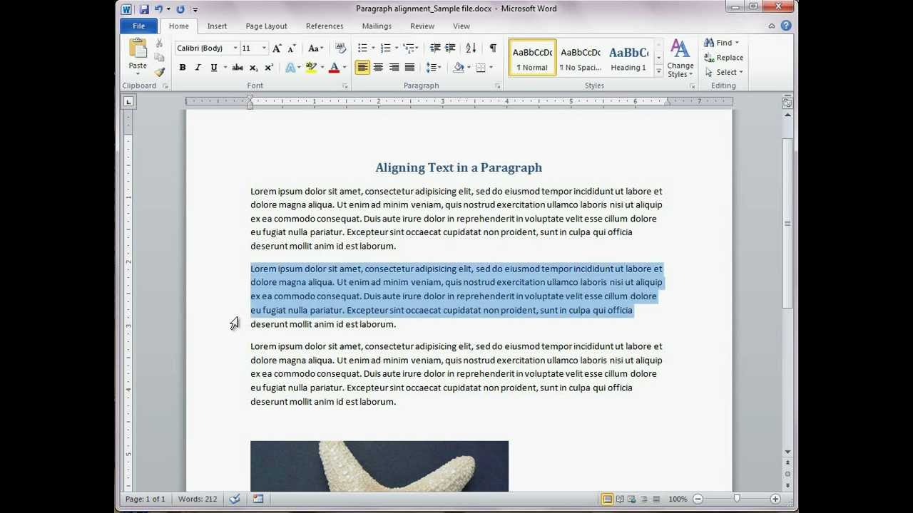 In Word: Align text in Word-left, center, right, justify ...