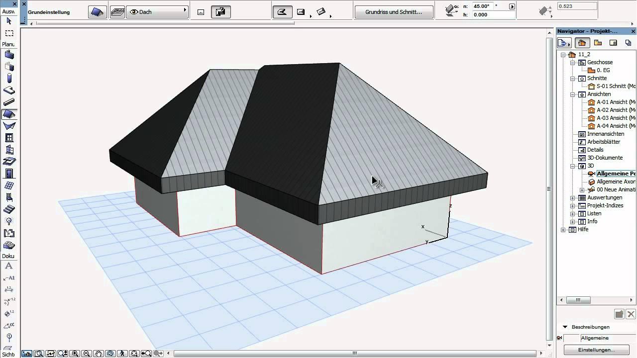 archicad 15 12 dachkonstruktion youtube. Black Bedroom Furniture Sets. Home Design Ideas