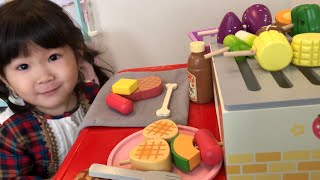 バーベキューグリルのおもちゃでお料理あそび!赤ちゃんのお店でおかいものごっこ!Cooking with BBQ Grill Toy