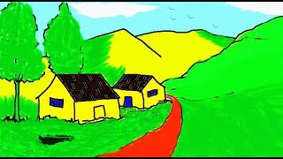 How to draw a Scenery in MS Paint | Easy Landscape Painting in MS Paint | Learn Drawing | ComeTube