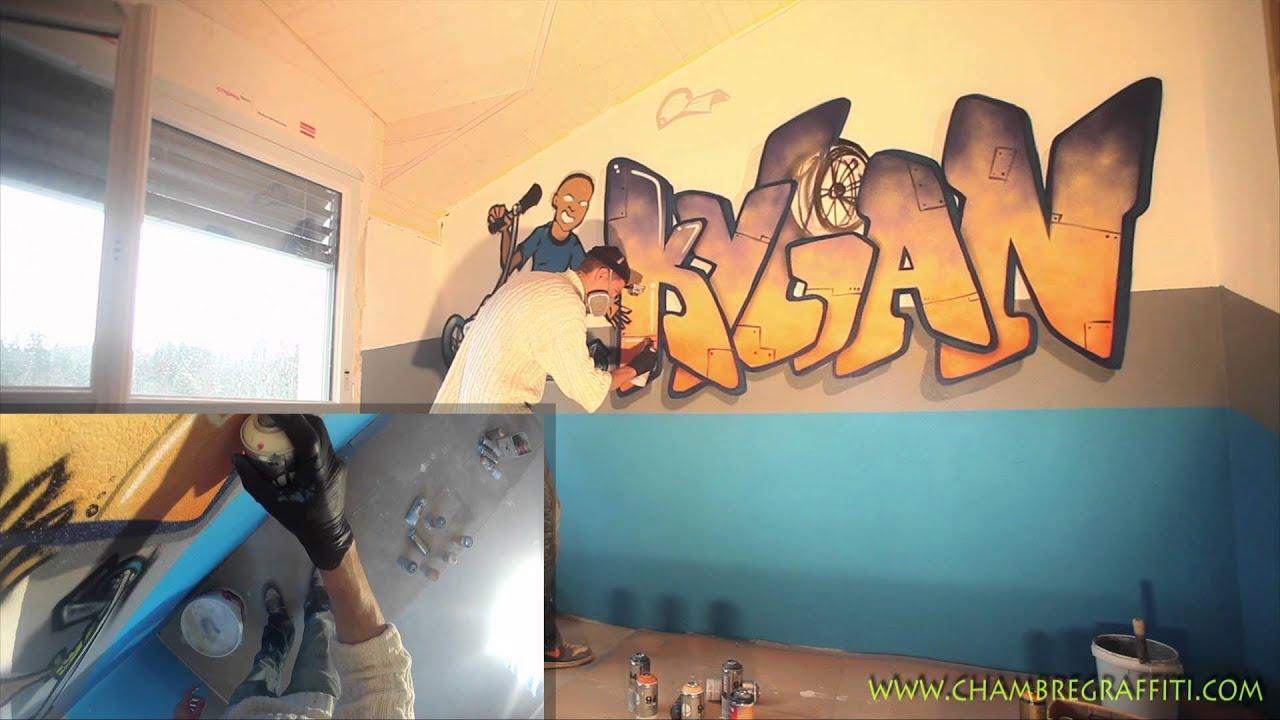 d co graffiti perso chambre de kylian par les graffeurs de youtube. Black Bedroom Furniture Sets. Home Design Ideas
