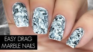 EASY Drag Marble Nail Art With Gel Polish | Beginner Level Friendly!