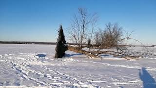 Virtual walkthrough of Petrie Island during a beautiful winter day with Ice fishing huts and sunset