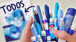 "Drawing with ""ALL BLUE ART SUPPLIES"" I own (ENG SUB)"