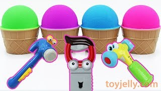 Learn Colors Mad Matter Kinetic Sand Ice Cream Cup Mickey Mouse Tool Play Doh Kinder Joy Baby Toys