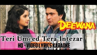 TERI UMEED TERA INTEZAR KARTE HAIN - DEEWANA - HQ VIDEO LYRICS KARAOKE