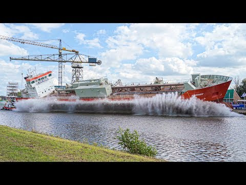 Ship Launch of Cement Carrier NORDEN at Royal Bodewes shipyard