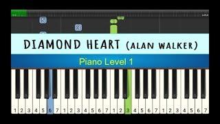 not piano diamond heart - alan walker - tutorial piano level 1