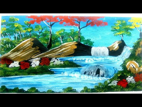 beautiful waterfall landscape painting|hill waterfall drawing|step by step drawing