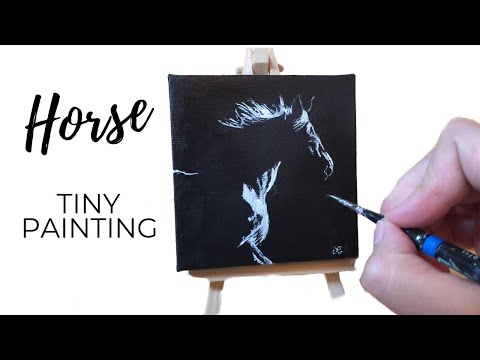 Horse Painting / Mini Canvas Acrylic  (Time Lapse Painting)