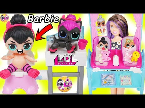 LOL Surprise Dolls + Lil Sisters Meet Skipper the Babysitter, Wave 2 Pets - Barbie Shops Toy Video