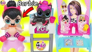 LOL Surprise Dolls + Lil Sisters Meet Skipper the Babysitter, Wave 2 Pets - Barbie Shops Toy Video