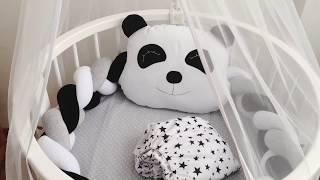 Комплект бортиков в кроватку Бортики в круглую кроватку Коса бортик