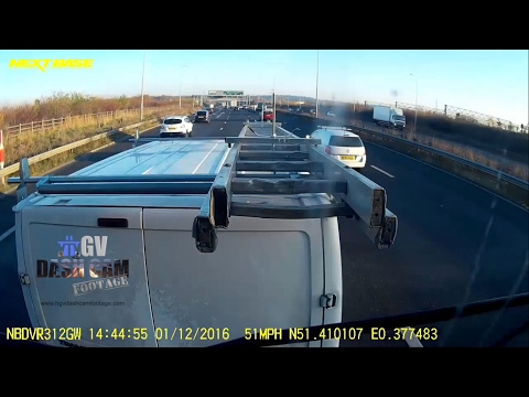 Van drivers ladder collides with truck after being brake checked