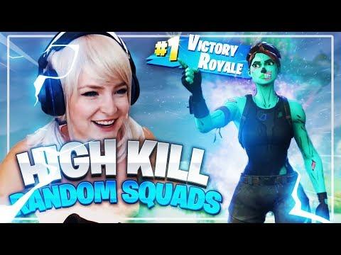 HIGH KILL RANDOM SQUADS! (Fortnite: Battle Royale) | KittyPlays