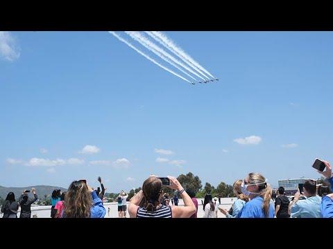 Air Force Thunderbirds' Sharp Grossmont Hospital flyover