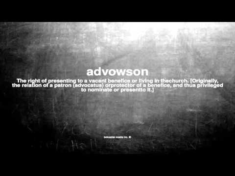 What does advowson mean