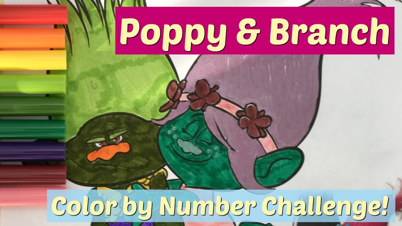 Trolls Coloring Pages Color by Number Challenge - Poppy and Branch ...