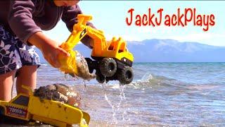 Construction Trucks for Kids: Beach Playtime Tahoe Vacation 4 - Excavator Dump Truck Monster Truck