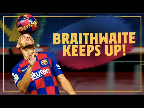 Martin Braithwaite touches the ball for the first time as a Barça player (Full Clip)