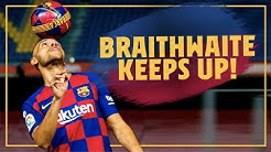 Martin Braithwaite touches the ball for the first time as a Barça player